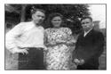 На снимке: М.Н.Большаков (Мирон Чойн), его жена Валя Большакова и С.М.Кушаков. На дворе квартиры Большаковых (июнь 1949 год)
